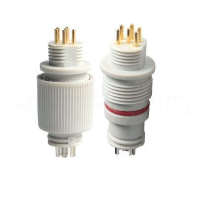 White 6 pin dc waterproof connector EC-006