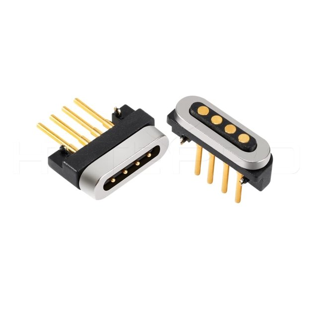 Straight 4 pogo pin magnetic data connector M411H